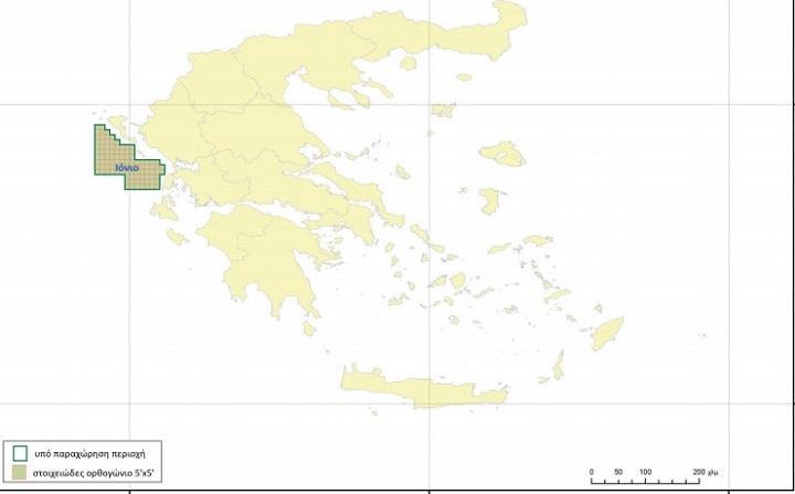Ο χάρτης για τα θαλάσσια οικόπεδα που θα παραχωρηθούν, όπως δημοσιεύτηκε στην Εφημερίδα της Κυβερνήσεως.