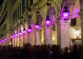 Holy week with purple lanterns on Liston Square, Corfu, Greece