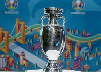 epa08300469 (FILE) - The Henri Delaunay trophy on display during the draw of the UEFA EURO 2020 playoff matches at the UEFA headquarters in Nyon, Switzerland, 22 November 2019 (re-issued on 17 March 2020). The UEFA EURO 2020 has been postponed to 2021 amid the coronavirus COVID-19 pandemic, the Norwegian Football Association (NFF) announced on 17 March 2020.  EPA-EFE/SALVATORE DI NOLFI